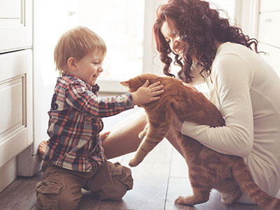 Mom holding cat for son to pet